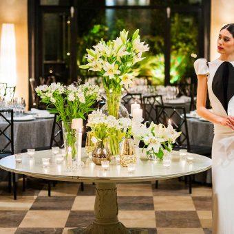 Novia en el salón de bodas de Mestura Restaurante en Oviedo