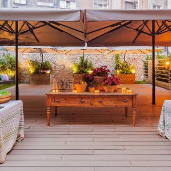 Panorámica de la terraza para bodas de Mestura Restaurante en Oviedo